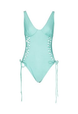 Turquoise Lace Up Underwired Swimsuit