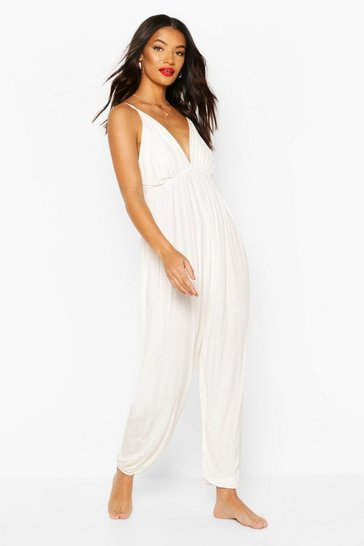 White Jersey Beach Jumpsuit