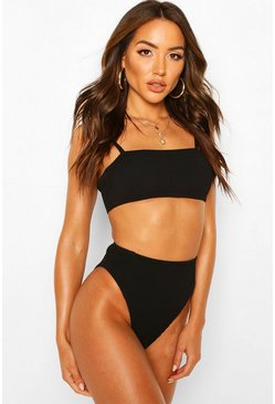 Black Square Bandeau High Waist Crinkle Bikini
