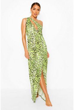 Green One Shoulder Split Leg Maxi Beach Dress