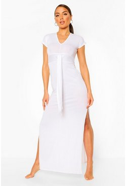 White Jersey Knot Front Maxi Beach Dress
