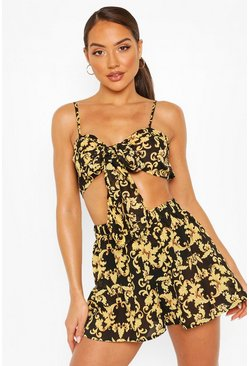 Black Chain Print Tie Beach Co-ord