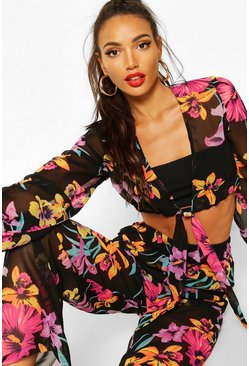 Black Neon Floral Tie Front & Wide Leg Pants Two-Piece