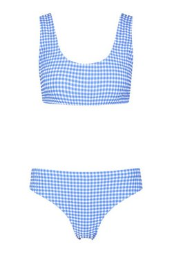 Blue Textured Gingham High Waist Crop Bikini