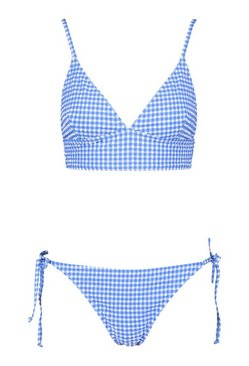 Blue Texture Gingham Triangle Bikini