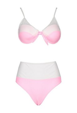 Pink Colour Block Underwired High Waist Bikini