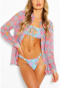Coral pink Neon Tile Beach Shirt