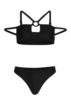 Black Ring Detail Caged Bandeau Bikini