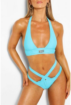 Blue Gem Halterneck Strappy Triangle Bikini