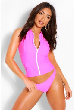 Pink Zip Through Racer Back Rashguard Bikini
