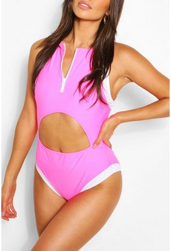 Pink Zip Cut Out Sporty Swimsuit