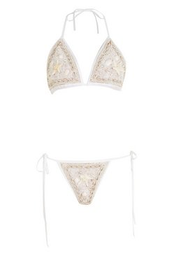 White Shell Embellished Bikini Set