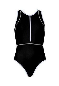 Black Zip Through Sports Swimsuit