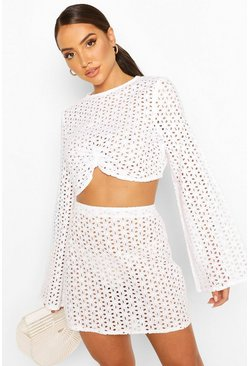 White Eyelet Crop And Skirt Beach Two-Piece