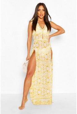 White Chain Print Cut Out Maxi Split Beach Dress