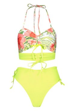 Lime Abstract Floral Ruched Crop High Waist Bikini