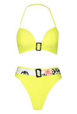 Lime Buckle Belted Bandeau High Waist Bikini