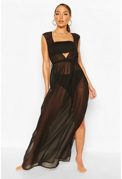 Black Plunge Split Leg Maxi Beach Dress