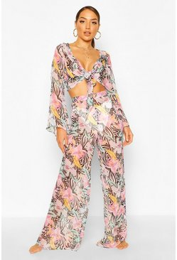 Multi Tropical Animal Wide Leg Beach Trousers