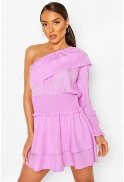 Lilac One Shoulder Ruffle Beach Dress