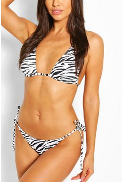 White Zebra Seersucker Triangle Bikini