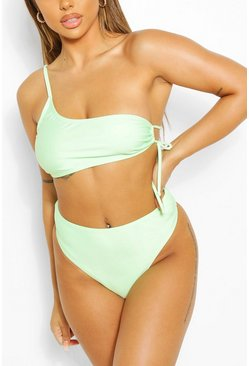 Green Mix & Match Crinkle High Waisted Bikini Brief