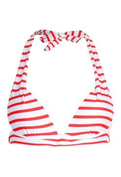 Red Mix & Match Nautical Moulded Triangle Bikini Top