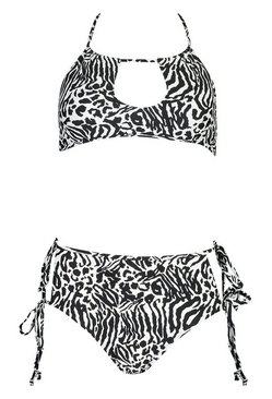 White Mixed Monochrome Cut Out Tie Bandeau Bikini