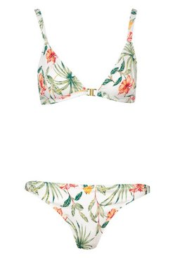 White Tropical Rib Triangle Bikini