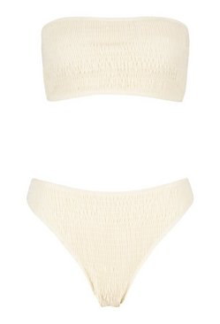 Cream Shirred Bandeau High Leg Bikini