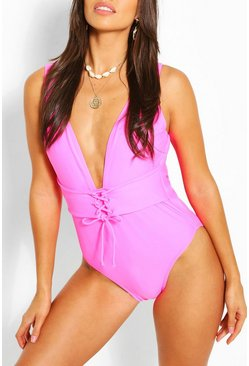 Pink Lace Up Waist Belt Fuller Bust Swimsuit