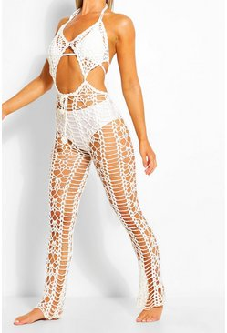 White Crochet Knitted Beach Jumpsuit
