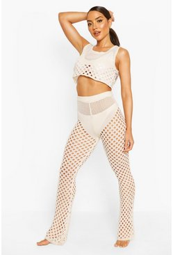 Cream white Knitted Cut Out Crop Trouser Beach Co-Ord
