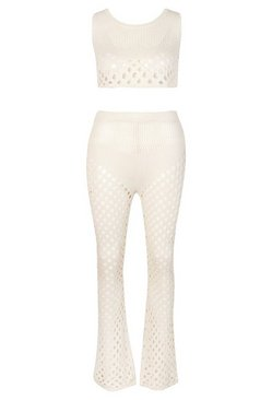 Cream Knitted Cut Out Crop Trouser Beach Co-Ord