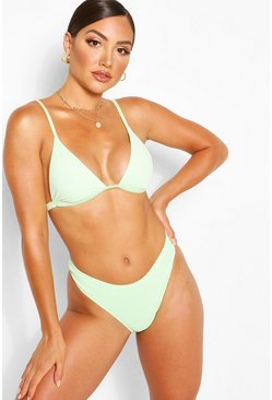 Green Mix And Match Crinkle High Leg Brief
