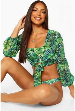 Blue Tropical Leopard Tie Front Beach Shirt