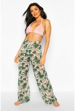 Pink Tropical Candy Stripe Beach Trouser