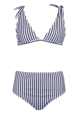 Navy Nautical Tie Shoulder High Waist Bikini