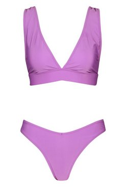 Purple Plunge Triangle V Front Brazilian Bikini