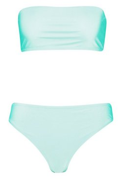 Green Bandeau Cheeky Bum Bikini