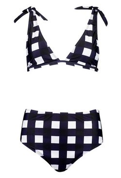 Navy Gingham Tie Shoulder High Waist Bikini