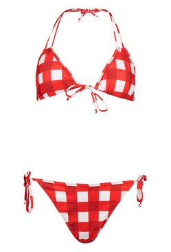 Red Gingham Triangle Tie Side Bikini