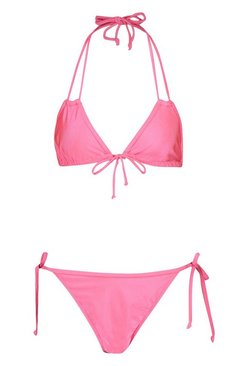 Pink Tie Side Triangle Bikini