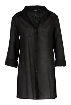 Black Oversized Cotton Beach Shirt