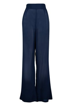 Navy Wide Leg Beach Trouser