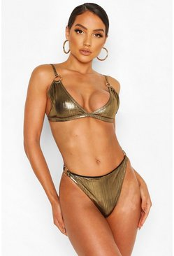 Gold metallic Metallic Ring Detail Triangle Bikini