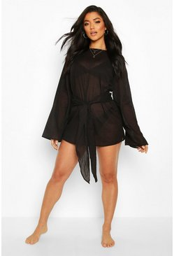 Black Tie Waist Flare Sleeve Beach Dress