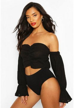 Black Puff Sleeve Off The Shoulder Beach Top