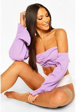 Lilac purple Puff Sleeve Off The Shoulder Beach Top