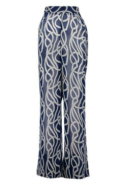 Navy Nautical Rope Print Wide Leg Beach Trouser